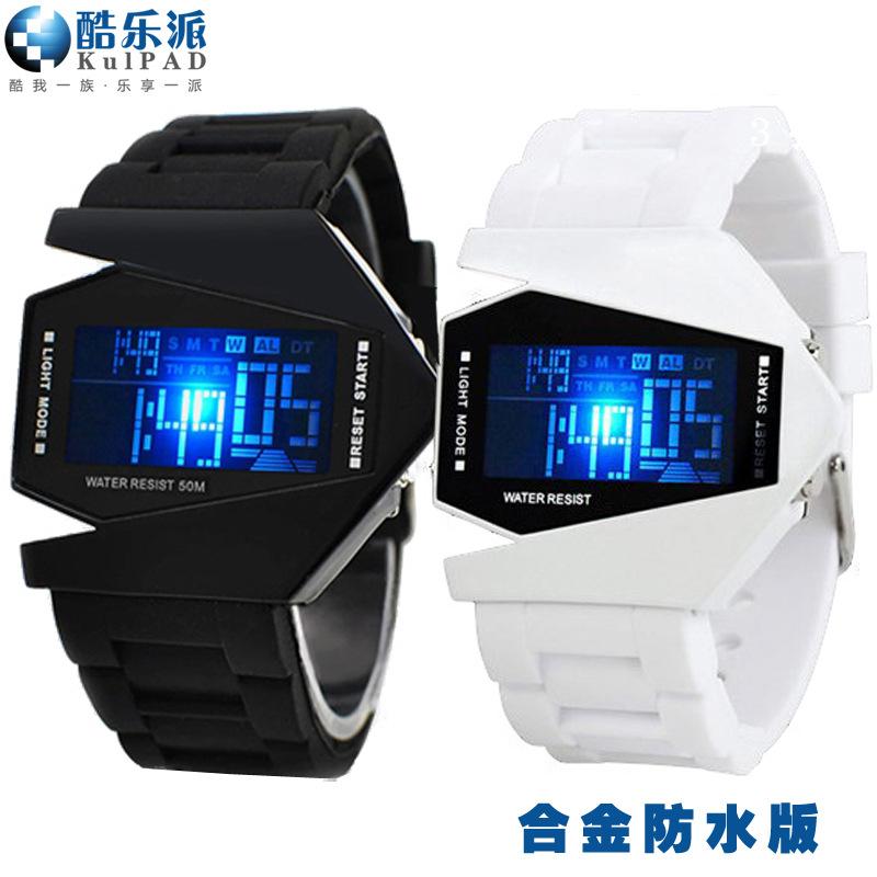 Cool music korean cool waterproof plane table fashion watch fighter LED luminous electronic watch movement(China (Mainland))