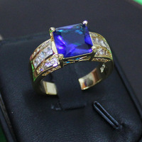 Men's Square Blue Tanzanite Crystal CZ Stone 10KT Yellow Gold Filled Ring