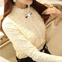 2015 new Slim solid color lace long-sleeved shirt female models fashion plus velvet backing shirt free shipping