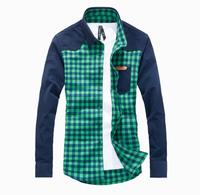 2015 Top Fashion Plaid Regular Full The New Grinding Mao Han Edition Men Long-sleeved Shirt Grid Leisure Men's Long Sleeve Sm2-6