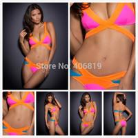 2014 new original single spell color bandage sexy ladies bikini swimsuit wholesale bikini swimsuit