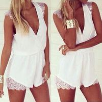 Sexy Celeb Lace Playsuit Evening Party Summer Chiffon Mini Dress Jumpsuit Short