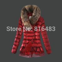 New fashion designer brand MCL women down Parka jacket winter coat Chiffon white duck down warm real raccoon fur free shipping