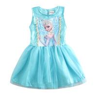 1 piece Frozen Elsa baby girls costume dress sleeveless blue dress for little girls, 2015 new spring children kid clothes