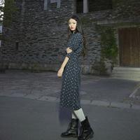 Formal vintage medium-long long-sleeve o-neck loose single breasted expansion bottom one-piece dress