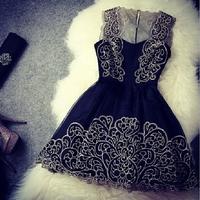 Vestidos de fiesta, 2015 Women fashion white dress, black cute lace dress, original dress free shipping