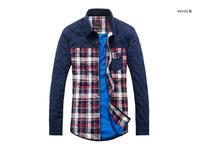 2015 Top Fashion Full Winter New Men Long Sleeve Shirt, Cotton Thickening Stitching Lattice Men's Wear To Keep Warm Shirt Sm1-6