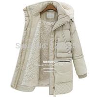 2014 Winter New Women's Down Coat Girls Long Lamb's Wool Jacket Warm Zipper With Hood Fleece Dust Women Parka Plus size S-XXL