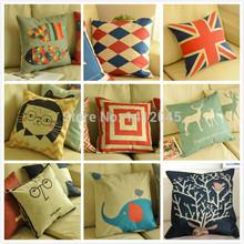 Hot sale Decorative Pillows Cotton Linen Pillow Cushion Cover Creative Decoration For Home Sofa Car Pillow cushions 45X45cm(China (Mainland))