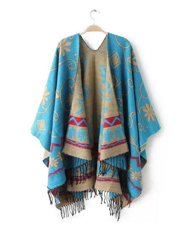 Hot Sale Fashion Womens Autumn Winter Warm Flower Pattern Slit Wool Blend Plaids Blanket Cloak Poncho Cape Coat Tassel Shawl(China (Mainland))