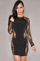 2014 Fashion New Women Plus Size Sexy Ladies Casual Black Lace Nude Illusion Bodycon Evening Club Party Dress LC21557