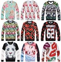 [Magic] New 3d clothing fashion brand sweatshirt men o neck long sleeve sexy lady/flowers print sweatshirts 21models free ship