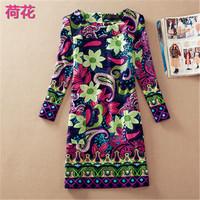 Spring Autumn Women Printed Dresses 2014 Fashion Casual Vintage Plus Size Dress 16 Style For Women M-4XL 10316