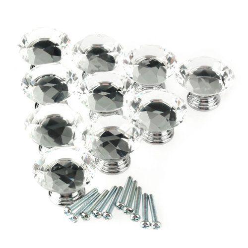 10 pcs cristal claro diamante armário roupeiro porta de armário alça bot