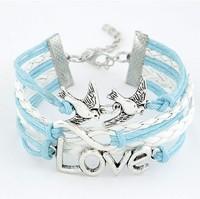 Fashion simple double bird love Infinity bracelet Charm Leather Multilayer Bracelet jewelry for women