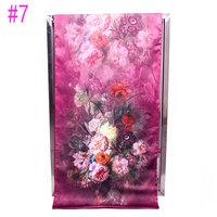 Stylish Purple Red Chinese PanKou style shawl inkjet printing Peony Flowers double-sided silk painting silk scarf  #7