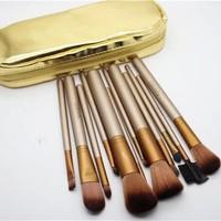 Wholesale Professional 1Set/lot New Makeup Brushes 12 PCs Gold Brushes Cosmetic Make Up Set With 2 Case Bag Kit, Free shipping