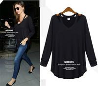 Hot Plus Size Women Shirt Cotton T Shirt  Black / Light Grey Long Sleeve V-Neck XL-5XL Fashion Causal Women T Shirt  Tops  E5154