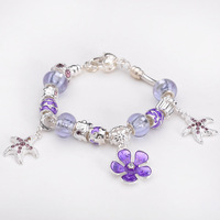 Free shipping!!Hot Wholesale European Murano Glass Beads Sterling Silver Charm Bracelet XB205 For Gift