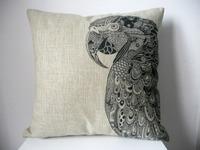 "New Cotton Linen Square Throw Pillow Case Sofa Cushion Cover  pillowcase Shell Vintage Parrot 18"""