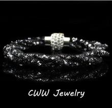 2014 New Fashion Women Jewelry Sexy Black Crystal Rhinestone Stardust Bracelets With Crystal Magnet Clasp (CB104)