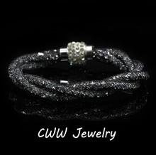 2014 New Fashion Women Jewelry Sexy Black Crystal Rhinestone Stardust Bracelets With Crystal Magnet Clasp CB104