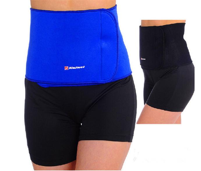 Hot Slimming Waist Belt cinchers Trimmer Exercise Weight Loss Burn Fat Sauna Body Shaper Blue & Black KW0620(China (Mainland))