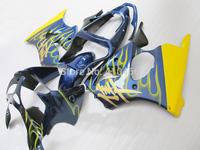 Motorcycle Fairing kit for KAWASAKI Ninja ZX6R 00 01 02 ZX 6R 636 2000 2001 2002 Yellow flames blue Fairings set+7Gifts KM57