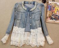 new 2014 spring women outerwear slim lace patchwork long-sleeve denim short jacket lady vintage jeans jacket Coat Free Shipping