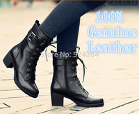 2014 new winter Genuine Leather  Ms Riding, Equestrian boots , plus velvet warm military boots, motorcycle boots, free shipping