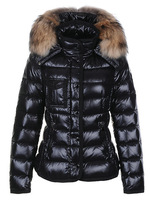 2014 thick women goose down jackets slim raccoon fur Armoise short monclearing white down coats fashion lady winter dress
