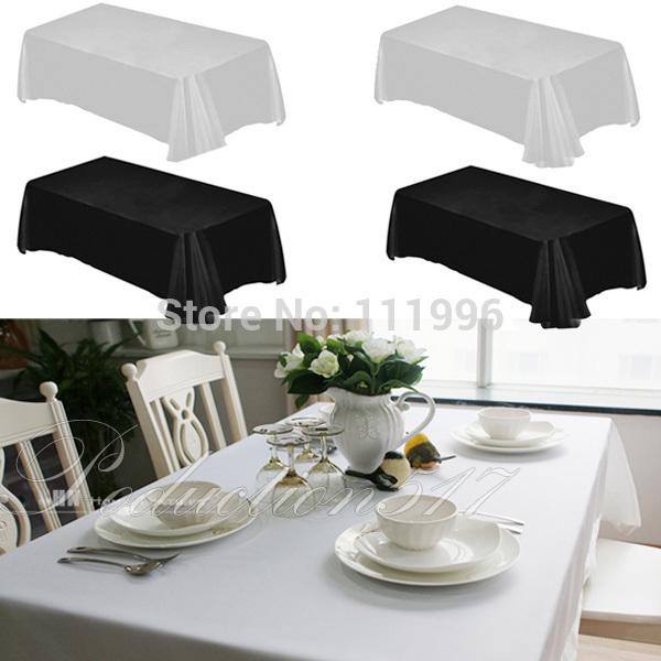 1 Pcs/Lot High Quality White/Black Rectangle 160cm x 220cm Table Cloth Wedding Event & Party Hotel Banquet Restaurant Decoration(China (Mainland))