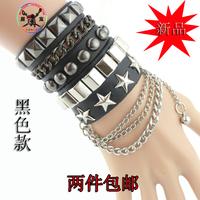 Male fashion multi-layer punk rivet hand ring women's tassel bracelet