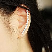 A05025 Fashion Lady Women Moon Shape Zircon Earrings for Women Ear Jacket Sets Free Shipping