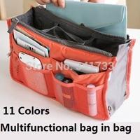 Bag In Bag,Double Zipper Portable Multifunctional Travel Pockets Handbag Storage Bag,Travel Cosmetic Makeup Wash clutch bags,BTY
