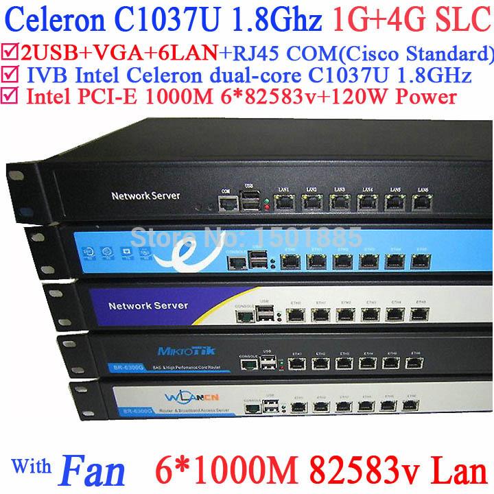 Full Gigabit multi wan router firewall pc with 6 82583v RJ45 1.8G support ROS Mikrotik PFSense Panabit Wayos 1G RAM 4G SCL(China (Mainland))