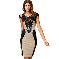 Women's Color Crashed Fashion Dress Lace Decoration O-Neck Club Dress