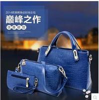 Lash package Women's handbag 2014 casual for Crocodile picture package piece set laptop messenger bag 3pcs