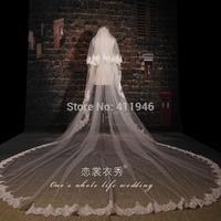 Bridal veil lace luxury decoration ultra long paragraph married veil train 3.5m  lace wedding dress veil