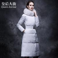 Women Winter White Duck Down Jacket Parka Outwear Coats fox fur Collar slim down coat female ultra long Y318