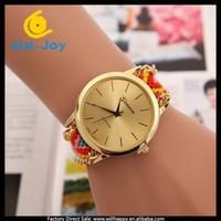 100/lot Geneva knitted pretty colorful hot sale girls bracelet vintage watch(WJ-3118-1)