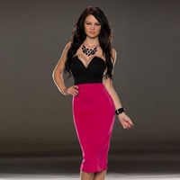 2015 Latest Fashion Sexy Splice Color Black And Red Bra Slim Midi Dress Strapless Off The Shoulder Party Dresses Evening Dress