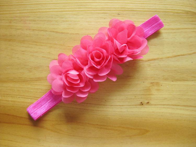 "Retail Baby Flower Headband Mini three Chiffon Flowers Headbands 2"" Charlotte Tulle Puff Flower Head wear for Photography props(China (Mainland))"