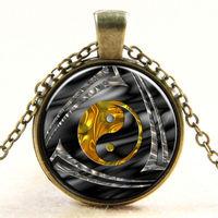 Vintage Yin Yang Tribal Gold Silver Glass Cabochon Slide Pendant Necklace Christmas Gift For Men Women