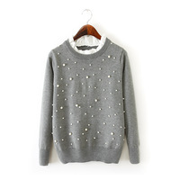 Fashion Womens/Ladies Pleated Patchwork Collar Pearl Deco Pullover Long Sleeve Sweater  Sweaters Jumpers