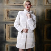 2014 New Women Winter Faux Fur jacket Fashion Luxury Long style Stand Collar Covered Button rabbit fur coat women winter coat