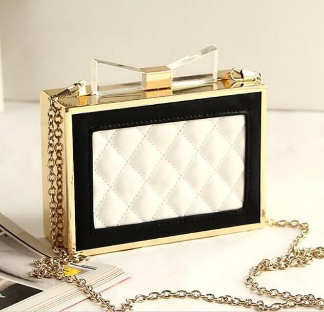 Acrylic Bow Women Handbag Day Clutch European Channel Perfume Bottle Box Bag Luxury Brand Designer Evening Bag(China (Mainland))