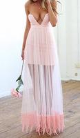 Women Strapless Dress Deep V Sexy Voile Sheer Casual Dresses Pink Cropped Maxi vestidos femininos Longa Party Celebrity Lace Hem