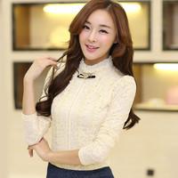 Fashion Lady Tops Lace Shirt Women Blouse Ruffled Collar Long Sleeve Beige / Black Hot Sale Office Lady Tops Sweet  Style  E5156