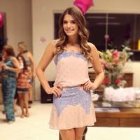 New 2014 vestido de festa Pink Dots Print casual Lace desigual Women Vestidos Chiffon Dresses D16